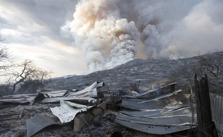 A burned structure is seen at a wildfire in Yucaipa, Calif., Saturday, Sept. 5, 2020. AP