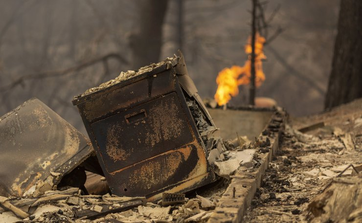 A home is completely destroyed after the Creek Fire swept through the area on September 8, 2020 near Shaver Lake, California. California Gov. AFP
