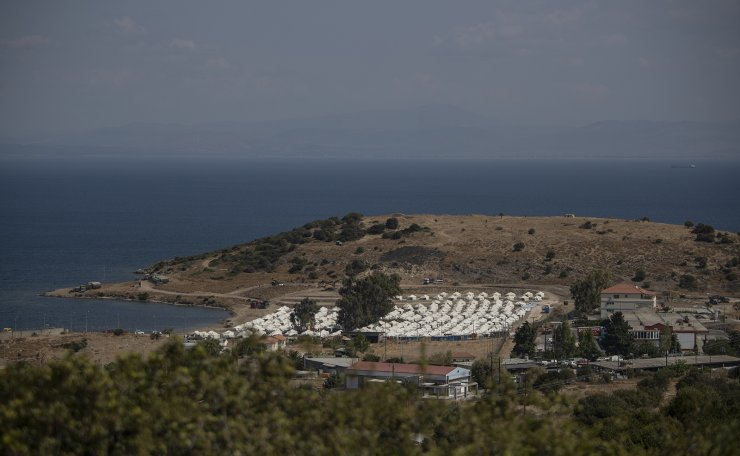 A general view of the temporary camp for refugees and migrants near Mytilene town, on the northeastern island of Lesbos, Greece, Sunday Sept. 13, 2020. AP