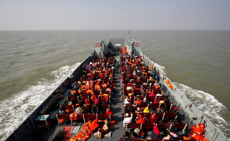 A view of a navy vessel in the Bay of Bengal, carrying Rohingya refugees to the Bhasan Char island in Noakhali district, Bangladesh, December 29, 2020. Reuters
