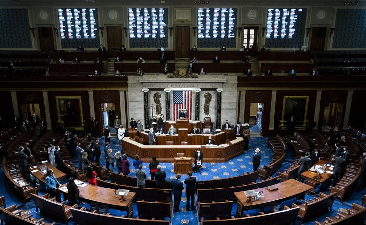 Speaker of the House Nancy Pelosi, D-Calif., presides over the impeachment vote for President Donald J. Trump, in the House Chambers at the U.S. Capitol in Washington, DC on Wednesday, January 13, 2021. UPI