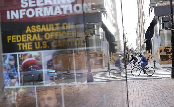 Security is increased ahead of the inauguration of President-elect Joe Biden and Vice President-elect Kamala Harris, Sunday, Jan. 17, 2021, in Washington. AP