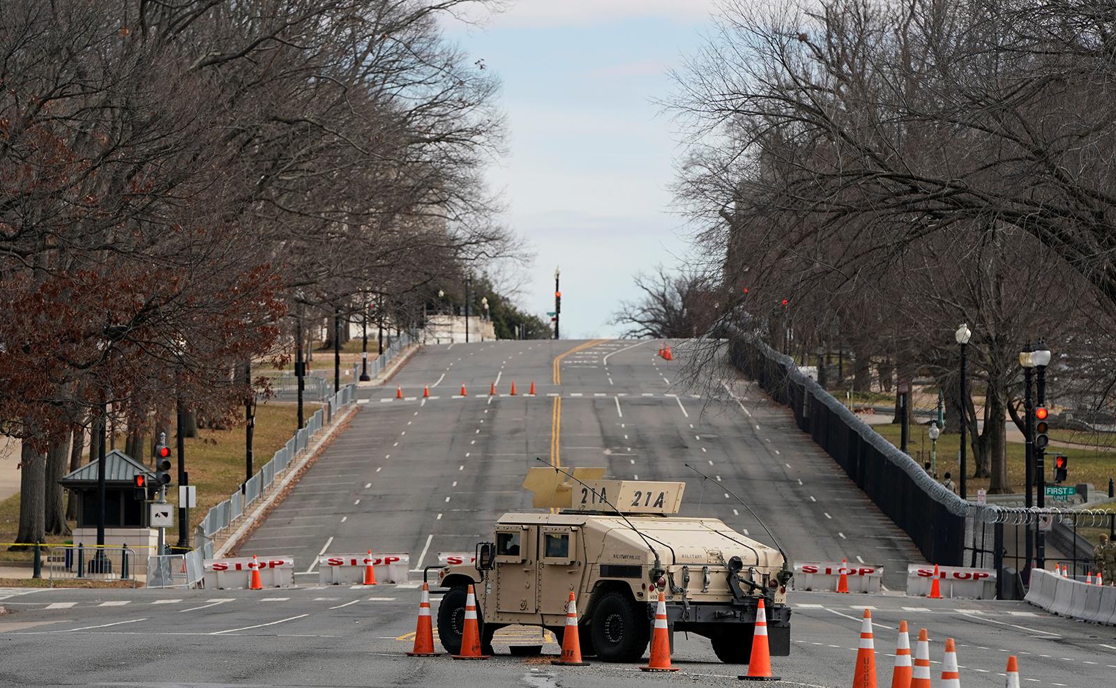 A National Guard vehicle is seen around the U.S. Capitol ahead of U.S. President-elect Joe Biden's inauguration, in Washington, U.S., January 17, 2021. Reuters
