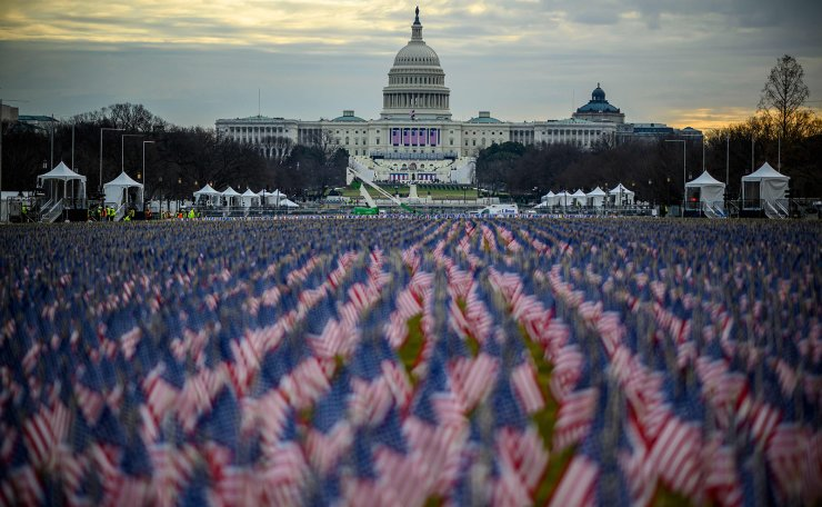 Thousands of flags creating a 'field of flags' are seen on the National Mall ahead of Joe Biden's swearing-in inauguration ceremony as the 46th US president in Washington on January 18, 2021. AFP