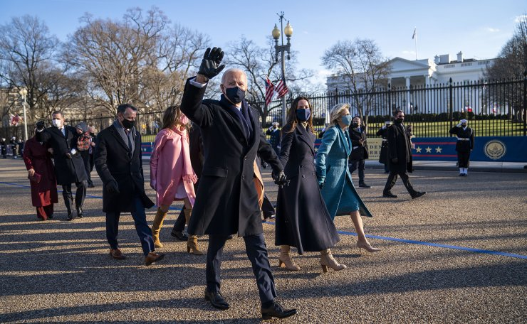 President Joe Biden, First Lady Jill Biden and family, walk in front of the White House during a Presidential Escort to the White House, Wednesday, Jan. 20, 2021 in Washington. AP