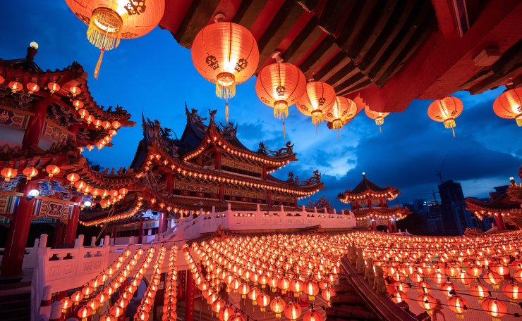 Red lanterns set for Chinese Lunar New Year are pictured at Thean Hou Temple in Kuala Lumpur, Malaysia, Feb. 2, 2021. Xinhua