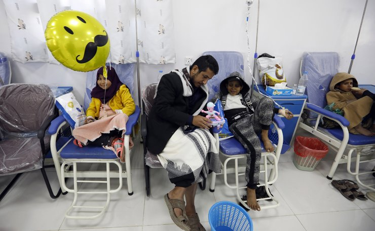 Yemeni children suffering from cancer undergo medical treatment at a leukemia ward of a hospital on World Cancer Day, in Sana'a, Yemen, 04 February 2021. World Cancer Day is annually observed on 04 February to raise awareness of cancer and to encourage its prevention, detection, and treatment. EPA