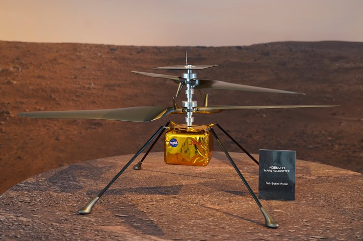 A full-scale model of the Mars Helicopter Ingenuity is displayed for the media at NASA's Jet Propulsion Laboratory (JPL) Wednesday, Feb. 17, 2021, in Pasadena, Calif. AP