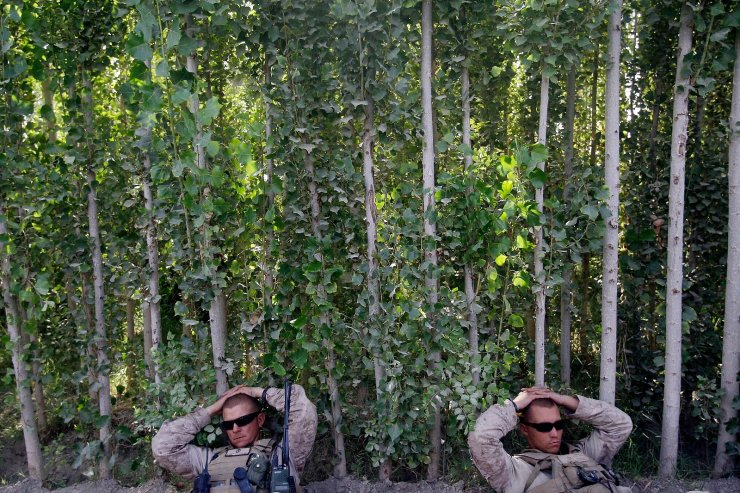 U.S. Marines from the 2nd Marine Expeditionary Brigade, 1st Battalion 5th Marines rest along a tree line after arriving in an overnight air assault near the Taliban stronghold of Nawa in Afghanistan's Helmand province on July 2, 2009. AP