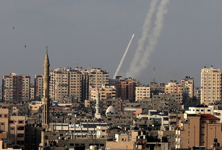 Rockets are fired from Gaza City towards Israel on May 10, 2021. AFP