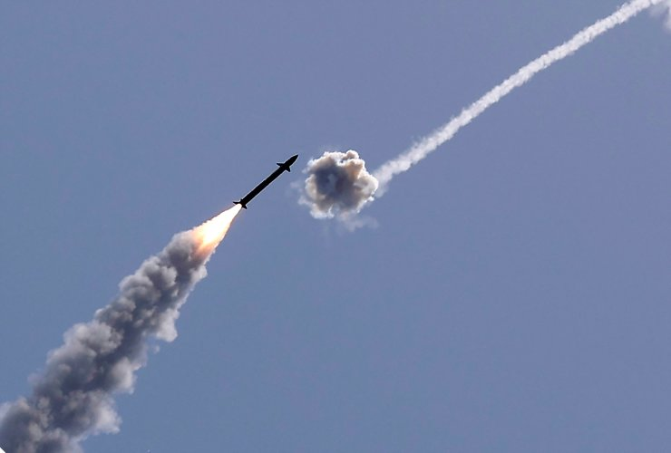 Israel's Iron Dome aerial defence system intercepts a rocket launched from the Gaza Strip, controlled by the Palestinian Hamas movement, above the southern Israeli city of Ashkelon, on May 11, 2021. AFP