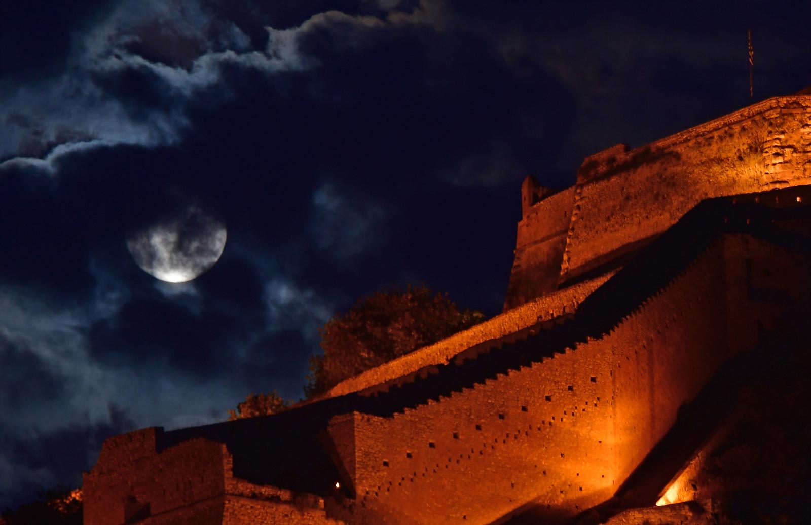 Full moon rising behind Palamidi castle in Nafplio, Greece 25 May 2021. EPA