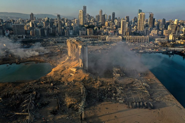 A drone picture shows the scene of an explosion at the seaport of Beirut, Lebanon, Aug. 5, 2020. The image was part of a series of photographs by The Associated Press that was a finalist for the 2021 Pulitzer Prize for breaking news photography. AP