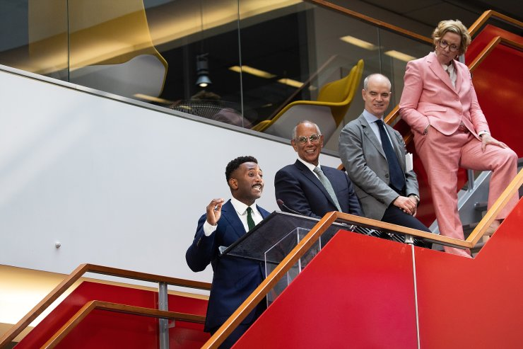 A handout photo made available by The New York Times shows (L-R) The New York Times' Wesley Morris, critic-at-large, Executive Editor Dean Baquet, Managing Editor Joe Kahn, and Deputy Managing Editor Carolyn Ryan in the newsroom at The New York Times headquarters in New York, New York, USA, 11 June 2021. Morris was awarded the 2021 Pulitzer Prize for criticism and The New York Times was awarded the 2021 Pulitzer Prize for public service. EPA