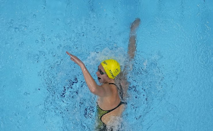 Ariarne Titmus, of Australia, swims in a women's 200-meter freestyle semifinal at the 2020 Summer Olympics, Tuesday, July 27, 2021, in Tokyo, Japan. AP
