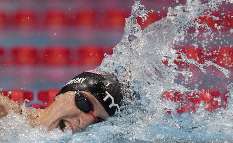 Katie Ledecky of United States swims in a women's 200-meter freestyle semifinal at the 2020 Summer Olympics, Tuesday, July 27, 2021, in Tokyo, Japan. AP