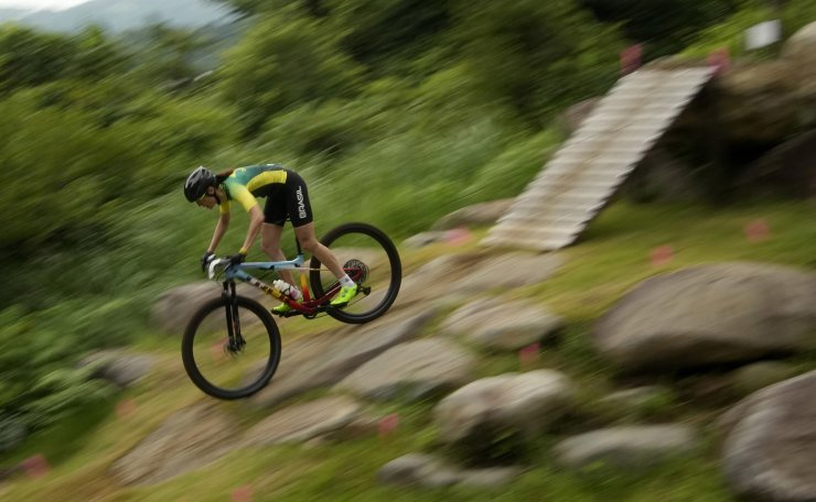 Jaqueline Mourao of Brazil competes during the women's cross-country mountain bike competition at the 2020 Summer Olympics, Tuesday, July 27, 2021, in Izu, Japan. AP