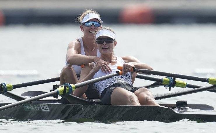 Brooke Donoghue and Hannah Osborne of New Zealand compete in the women's rowing double sculls final at the 2020 Summer Olympics, Wednesday, July 28, 2021, in Tokyo, Japan. AP