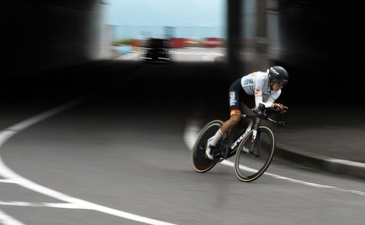 Margarita Victoria Garcia Canellas of Spain competes during the women's cycling individual time trial at the 2020 Summer Olympics, Wednesday, July 28, 2021, in Oyama, Japan. AP