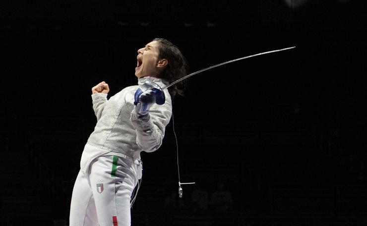 Rossella Gregorio of Italy celebrates defeating Sun Yiwen of China and in the women's Sabre team quarterfinal competition at the 2020 Summer Olympics, Saturday, July 31, 2021, in Chiba, Japan. AP