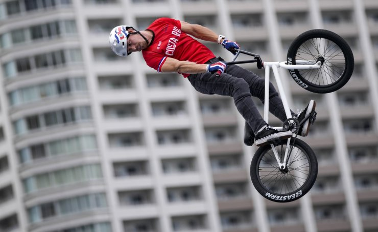 Kenneth Fabian Tencio Esquivel of Costa Rica practices ahead of the men's BMX Freestyle seeding at the 2020 Summer Olympics, Saturday, July 31, 2021, in Tokyo, Japan. AP