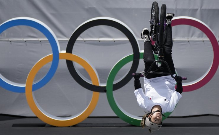 Minato Oike of Japan competes in the women's BMX Freestyle seeding at the 2020 Summer Olympics, Saturday, July 31, 2021, in Tokyo, Japan. AP
