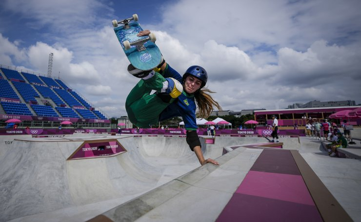 Yndiara Asp of Brazil takes part in a women's Park Skateboarding training session at the 2020 Summer Olympics, Saturday, July 31, 2021, in Tokyo, Japan. AP