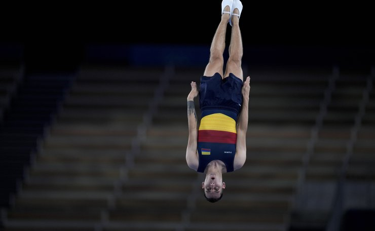 Angel Hernandez, of Colombia, performs in a men's trampoline gymnastics qualifier at the 2020 Summer Olympics, Saturday, July 31, 2021, in Tokyo. AP