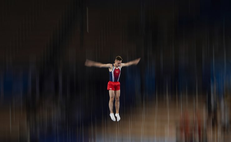 Ivan Litvinovich, of Belarus, competes in the men's trampoline gymnastics final at the 2020 Summer Olympics, Saturday, July 31, 2021, in Tokyo. AP