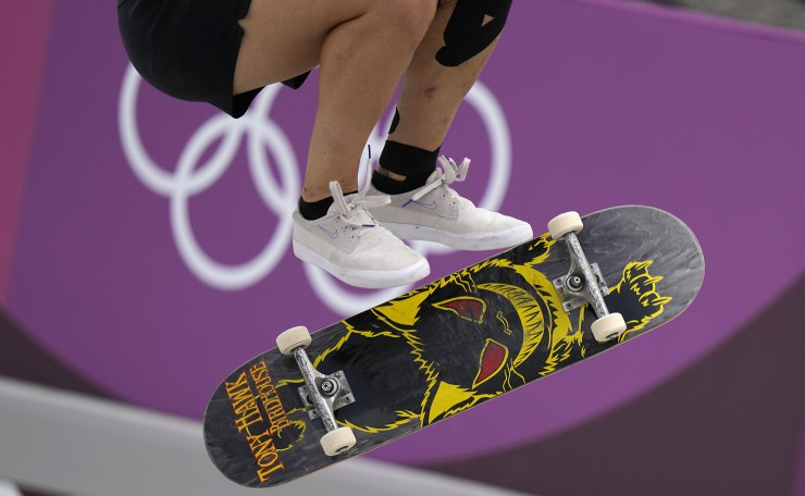 Julia Brueckler of Austria competes in the women's street skateboarding finals at the 2020 Summer Olympics, Monday, July 26, 2021, in Tokyo, Japan. AP