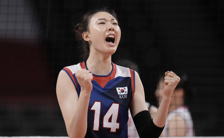 South Korea's Yang Hyo-Jin celebrates a point during a women's volleyball preliminary round pool A match against Japan, at the 2020 Summer Olympics, Saturday, July 31, 2021, in Tokyo, Japan. AP
