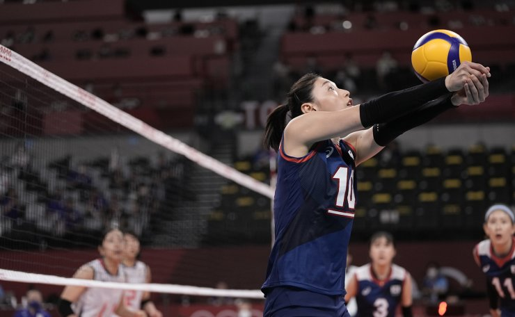 South Korea's Kim Yeon-koung bumps a ball during a women's volleyball preliminary round pool A match against Japan, at the 2020 Summer Olympics, Saturday, July 31, 2021, in Tokyo, Japan. AP