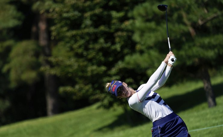 Jessica Korda, of the United States, watches her tee shot on the third hole during the second round of the women's golf event at the 2020 Summer Olympics, Thursday, Aug. 5, 2021, at the Kasumigaseki Country Club in Kawagoe, Japan. AP