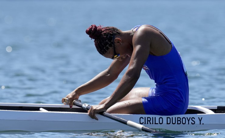 Yarisleidis Cirilo Duboys of Cuba reacts after competing in the women's canoe single 200m semifinal at the 2020 Summer Olympics, Thursday, Aug. 5, 2021, in Tokyo, Japan. AP
