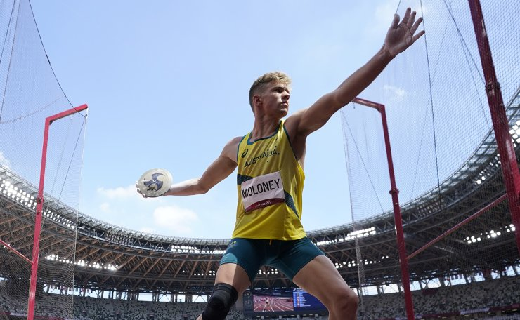 Ashley Moloney, of Australia, competes in the decathlon discus throw at the 2020 Summer Olympics, Thursday, Aug. 5, 2021, in Tokyo AP