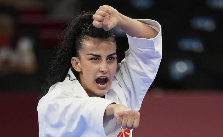 Puliksenija Jovanoska of North Macedonia competes in the elimination round of the women's kata for Karate at the 2020 Summer Olympics, Thursday, Aug. 5, 2021, in Tokyo, Japan. AP