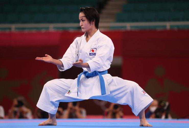 Tokyo 2020 Olympics - Karate - Women's Individual Kata - Elimination Round - Nippon Budokan, Tokyo, Japan - August 5, 2021. Kiyou Shimizu of Japan competes. REUTERS