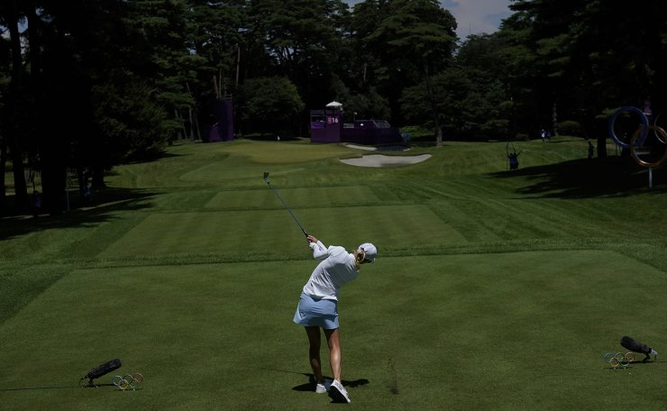Madelene Sagstrom, of Sweden, watches her tee shot on the 16th hole during the second round of the women's golf event at the 2020 Summer Olympics, Thursday, Aug. 5, 2021, at the Kasumigaseki Country Club in Kawagoe, Japan. AP