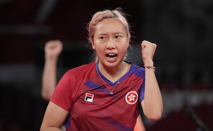 Hong Kong's Minnie Soo Wai-yam reacts during the table tennis women's team bronze medal match against Germany's Han Ying at the 2020 Summer Olympics, Thursday, Aug. 5, 2021, in Tokyo. AP