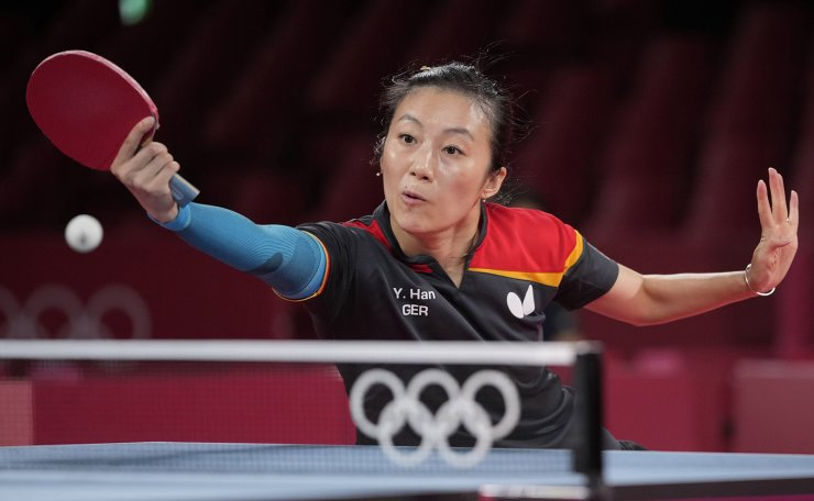 Germany's Han Ying competes during the table tennis women's team bronze medal match against Hong Kong's Minnie Soo Wai-yam at the 2020 Summer Olympics, Thursday, Aug. 5, 2021, in Tokyo. AP