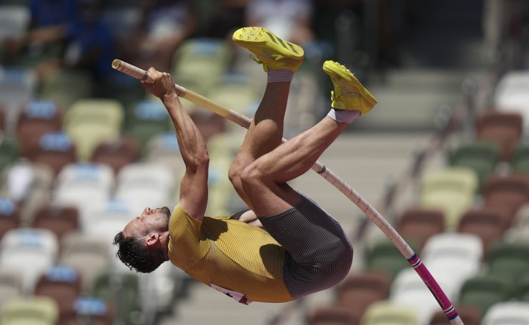 Kai Kazmirek, of Germany, competes in the decathlon pole vault at the 2020 Summer Olympics, Thursday, Aug. 5, 2021, in Tokyo. AP
