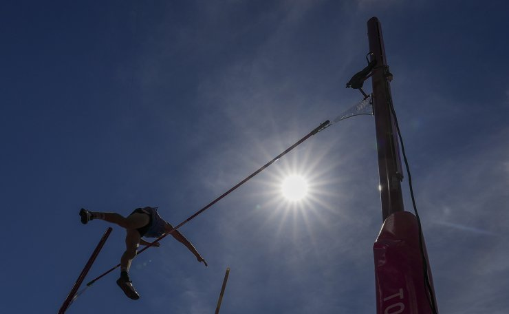 Johannes Erm, of Estonia, competes in the decathlon pole vault at the 2020 Summer Olympics, Thursday, Aug. 5, 2021, in Tokyo. AP