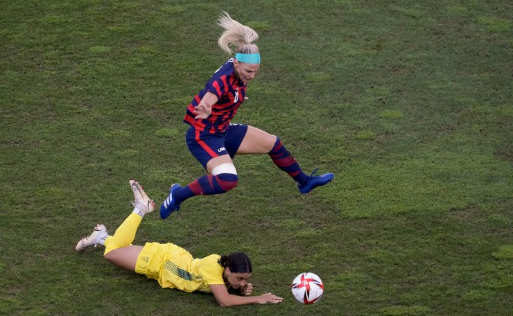 Australia's Sam Kerr, below, and United States' Julie Ertz battle for the ball during the women's bronze medal soccer match at the 2020 Summer Olympics, Thursday, Aug. 5, 2021, in Kashima, Japan. AP