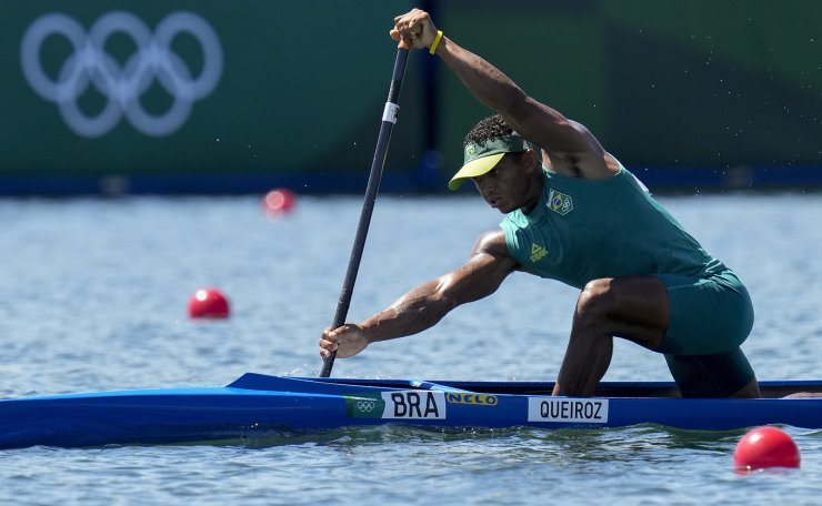 Isaquias Queiroz dos Santos of Brazil compete in the men's canoe single 1000m heat during the 2020 Summer Olympics, Friday, Aug. 6, 2021, in Tokyo, Japan. AP