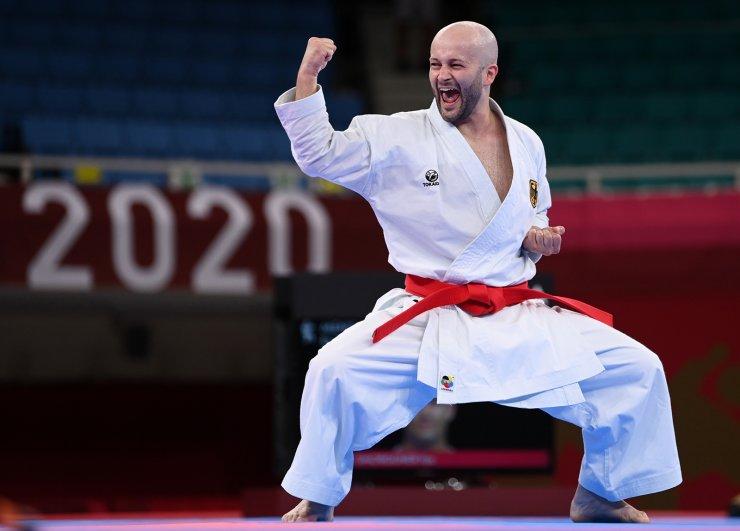 Tokyo 2020 Olympics - Karate - Men's Individual Kata - Elimination Round - Nippon Budokan, Tokyo, Japan - August 6, 2021. Ilja Smorguner of Germany competes. REUTERS