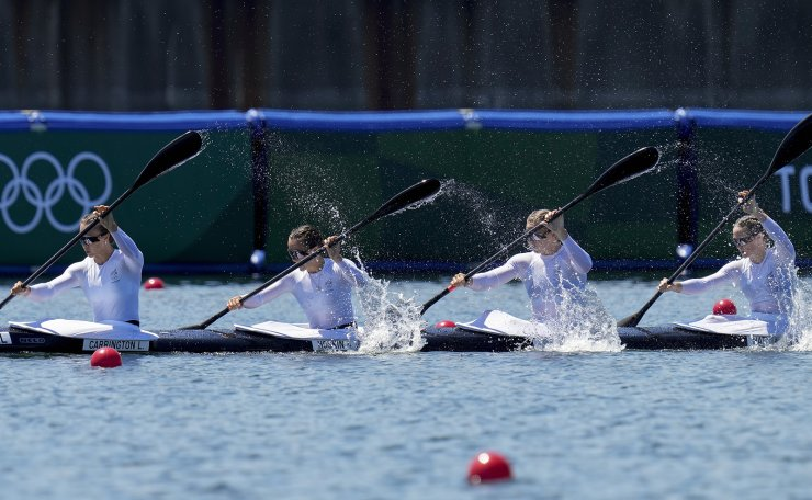 Lisa Carrington, Alicia Hoskin, Caitlin Regal and Teneale Hatton of New Zealand compete in the women's kayak four 500m heat during the 2020 Summer Olympics, Friday, Aug. 6, 2021, in Tokyo, Japan. AP