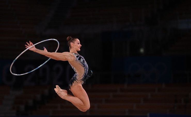 Slovenia's Ekaterina Vedeneeva competes in the individual all-around qualification of the Rhythmic Gymnastics event during Tokyo 2020 Olympic Games at Ariake Gymnastics centre in Tokyo, on August 6, 2021. AFP
