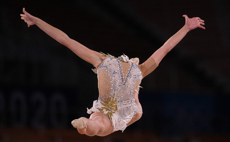 Belarus' Anastasiia Salos competes in the individual all-around qualification of the Rhythmic Gymnastics event during Tokyo 2020 Olympic Games at Ariake Gymnastics centre in Tokyo, on August 6, 2021. AFP
