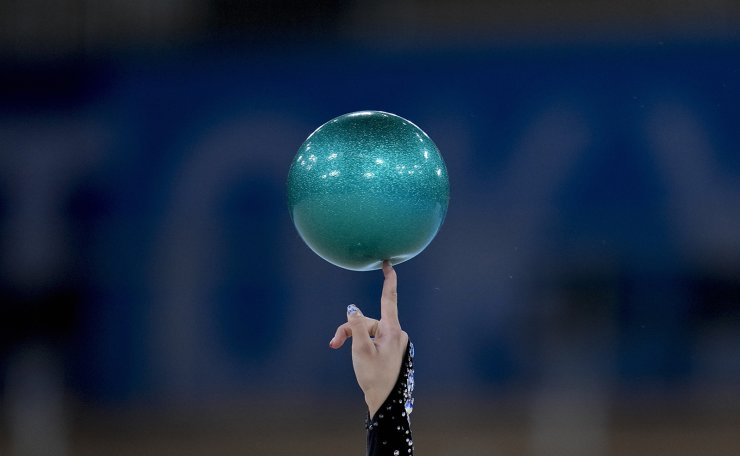 Alina Harnasko, of Belarus, performs during the rhythmic gymnastics individual all-around qualifier at the 2020 Summer Olympics, Friday, Aug. 6, 2021, in Tokyo, Japan. AP
