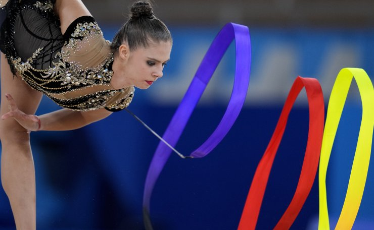 Fanni Pigniczki, of Hungary, performs during the rhythmic gymnastics individual all-around qualifier at the 2020 Summer Olympics, Friday, Aug. 6, 2021, in Tokyo, Japan. AP